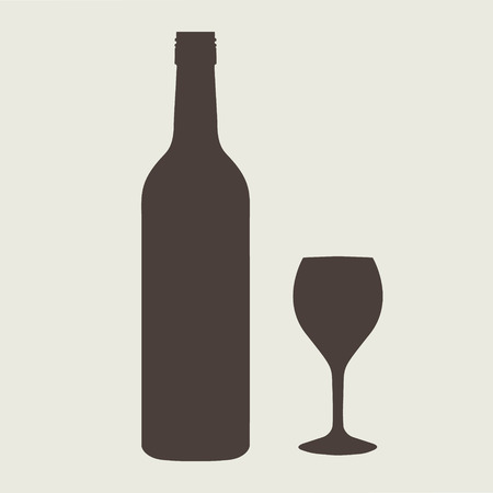 juice bottle: wine bottle sign set with wineglass eps 10 vector illustration