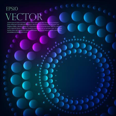 Absztrakt minta kék végzett türkiz csillogó pontok vagy köröket megy a legsötétebb külső szélén egy központi fekete lyuk, vagy Vortex copyspace Illusztráció