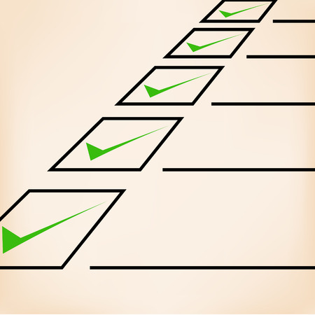 unchecked: Business goals checklist with green  markers, lines and unchecked checkbox. Vector icon. Idea - Business planning, goals, management and company strategy concept. Illustration