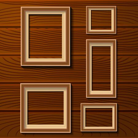 log wall: Set of wood photo frames isolated on wood texture background