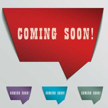 peel off: coming soon red 3d realistic paper speech bubble isolated on grey Illustration