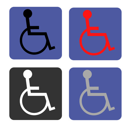 invalid: Disabled icon. Human on  wheelchair symbol. Handicapped invalid sign.