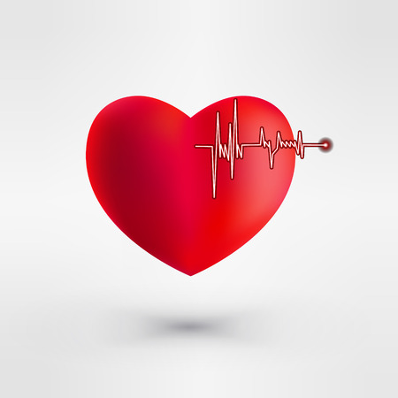 electrocardiograph: Heart with EKG signal. Valentines Day.  Vector Illustration.