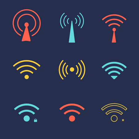 fi: Set of wi fi icons for  business or commercial use.