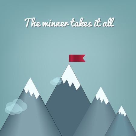 Design piatto illustrazione moderno concetto di vettore con copia spazio della bandiera sulla cima della montagna, che significa superamento delle difficoltà, il raggiungimento del traguardo, strategia vincente con attenzione ai risultati. Vettoriali