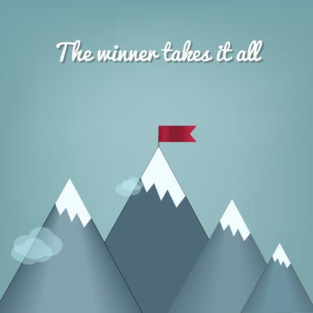 Diseño plano vector moderno concepto de ilustración con copia espacio de la bandera en el pico de la montaña, lo que significa la superación de las dificultades, el logro de metas, la estrategia ganadora con enfoque en los resultados. Ilustración de vector