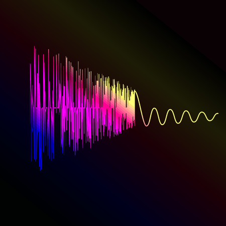 vibrations: Simple waveform vector illustration. Glowing music wave on dark background.