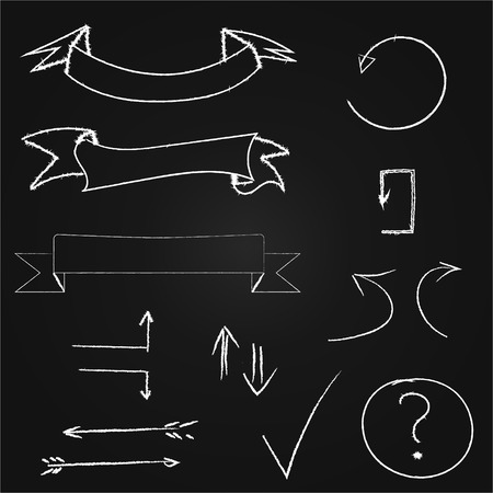 Arrows and banners set. Hand drawn chalk on blackboard. Vector