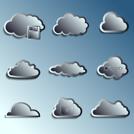 brushed aluminum: steel 3d vector clouds. Securety and data storage theme. With shadow.