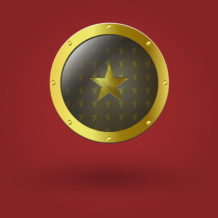 signatory: Vector illustration of gold seal. With the star placed in the center. Illustration