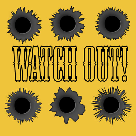 ricochet: Bullet holes. Vector. Easy to place on different color or background. Yellow.