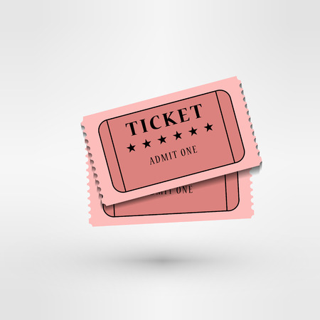 purchased: pair of  cinema tickets on white eps 10 vector illustration
