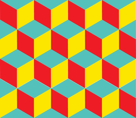 low floor: Seamless geometric colorful vector background. Cube shapes. Optical illusion eps 10 illustration Illustration