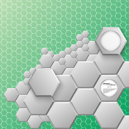 hexahedral: Abstract hexagon background. Vector illustration, contains transparencies, gradients and effects.