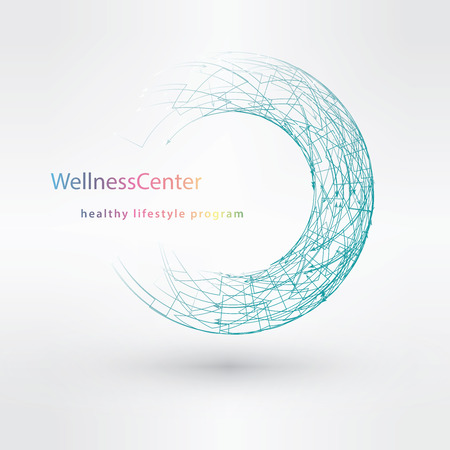 wellness: Light blue water technology logo design set