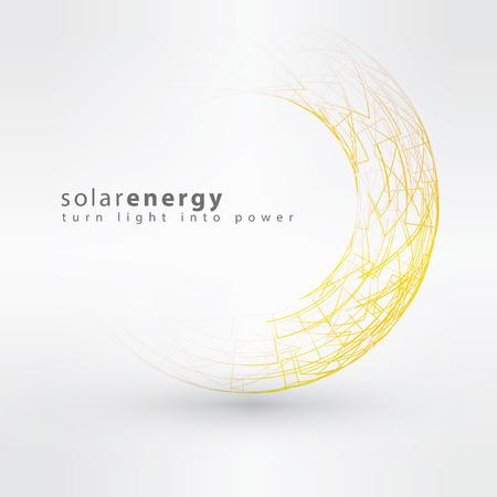 Sun icon készült elektromos szimbólumok. Napenergia logó tervezési koncepció. Kreatív jele sablon.