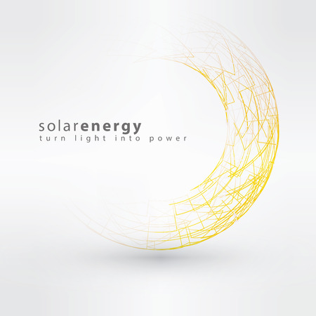 electricidad: Sun icono hecha de símbolos de poder. Solar concepto de diseño del logotipo de la energía. Plantilla signo creativo.