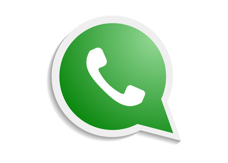 Green phone handset in speech bubble icon Ilustração