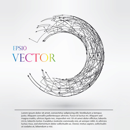 Wireframe mesh polygonal element. Torus with connected lines and dots.  vector illustration eps10