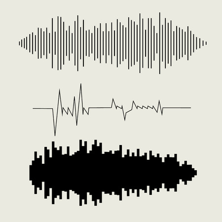 sonic: Vector sound waves set. Audio equalizer technology, pulse musical.