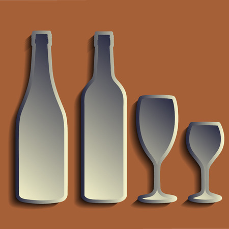 freshener: Wine bottle sign set. Bottle icon. ?rockery. Paper cut stylized. eps 10 vector illustration