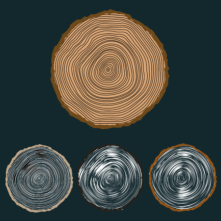 Vector conceptual background with tree-rings Tree cut Stump Snag.