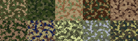 Big set of seamless camo pattern vector. Imagens - 43338038