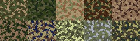 camoflauge: Big set of seamless camo pattern vector. Illustration