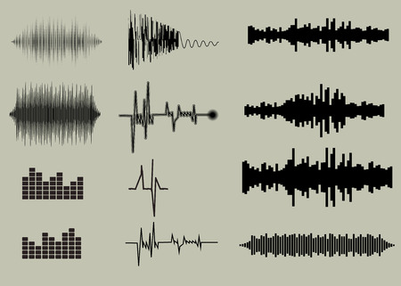 Sound waves set. Music background  EPS 10 vector file included