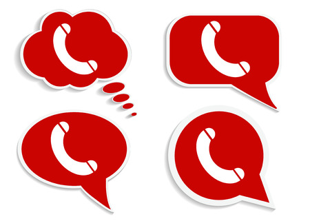 word bubble: Phone on red word bubble speech, busy line isolated on white
