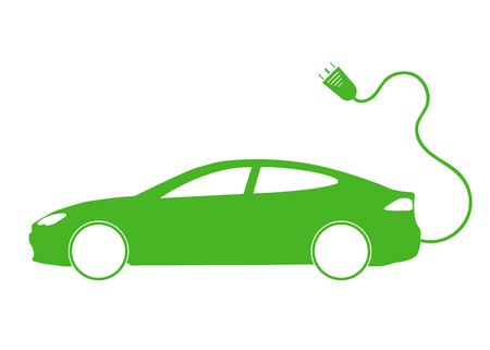 thickness: Vector illustration of electro car green icon. Line thickness fully editable