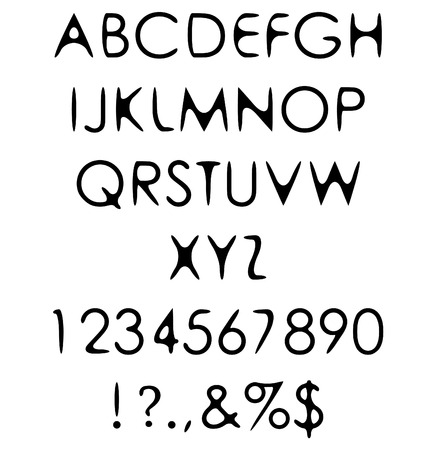 hand crafted retro font alphabet scratch gothic with warm of