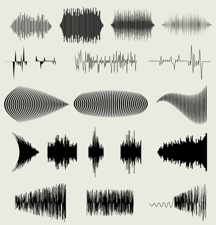 Vector sound waves set. Audio equalizer technology, pulse musical. vector illustration eps10 Vettoriali