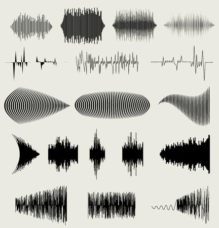 Vektor hanghullámok beállítani. Audio equalizer technológia, impulzus musical. vektoros illusztráció eps10