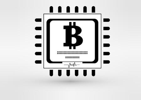 gpu: Vector CPU icon with bitcoin  vector illustration Illustration