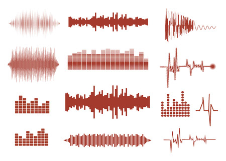 sonic: Vector sound waves set. Audio equalizer technology, pulse musical. Vector illustration of music pattern and texture