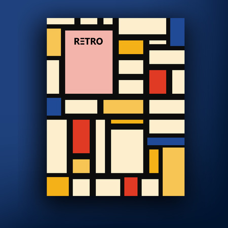 Vector retro bauhaus de stijl brochure booklet cover design templates collection A4 mondrian Stock fotó - 48106398