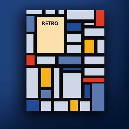 mondrian: Vector retro bauhaus de stijl brochure booklet cover design templates collection A4 mondrian