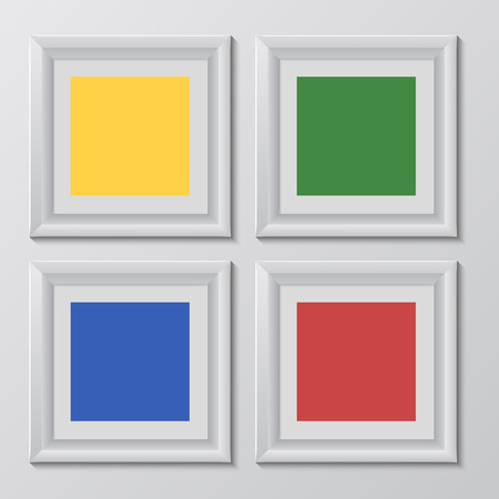 rainbow colors: wooden square picture frames color rainbow set for your web design