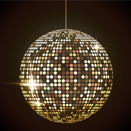 Mirror disco ball vector illustration. Glamorous shpere. Glowing design element.