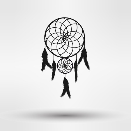 dream catcher: dream catcher silhouette  in black color isolated on white background. vector illustration