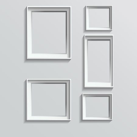 blank wall: Set of white photo frames vector illustration image