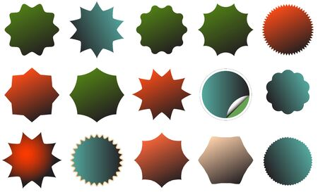 dent: An image of a colorful starburst dent set. Vector illustration EPS10