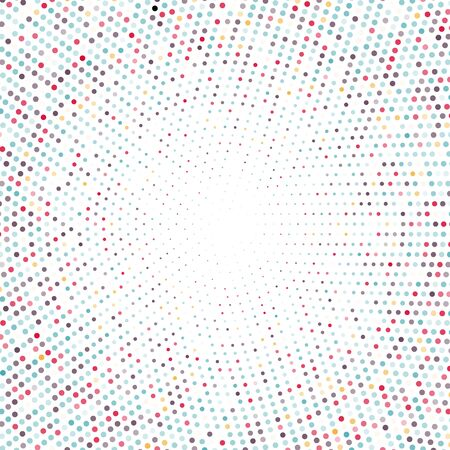 Vector halftone dots background. Colored dots on white background.