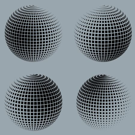 environmental science: Collection of halftone sphere  vector logo template. Abstract globe symbol, isolated round icon, business concept .You can use science and technology, tourism, financial or environmental background.