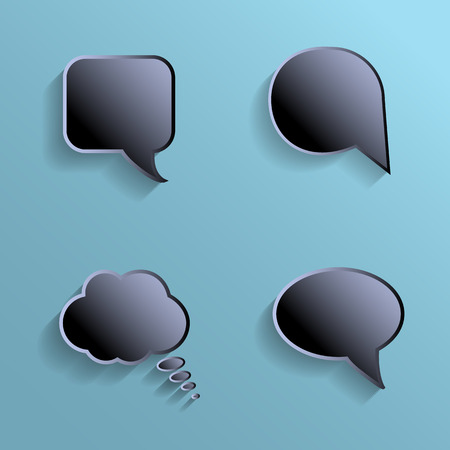 chat bubbles: Chat bubbles - paper cut design. Black color on marine background