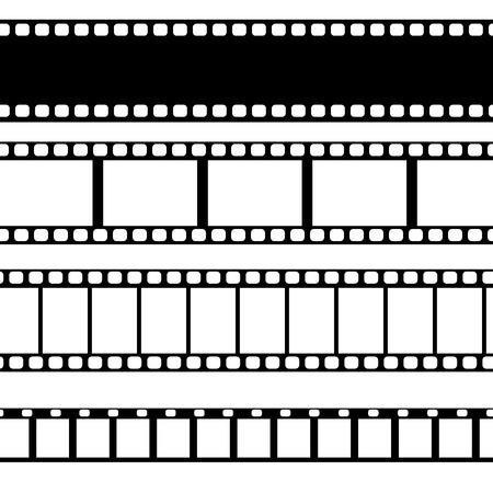 Vector film strip illustratie. Verschillende soorten film. Stock Illustratie