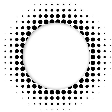 decorative frame: Halftone dots circle. Vector illustration.