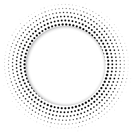 differing: Round banner of pixels. Differing halftone ring.