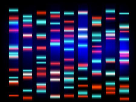 színes orvosi DNS-vizsgálat eredménye, fekete háttér